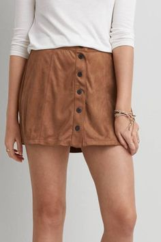 AEO Front Button Soft Skirt  by AEO | Create your cool weather look with this closet essential. Made with front buttons