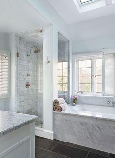 Contemporary Neutral Master Bathroom with Slate Flooring