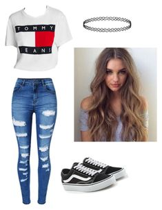 """Untitled #73"" by haileymagana on Polyvore featuring WithChic, Tommy Hilfiger and Vans"