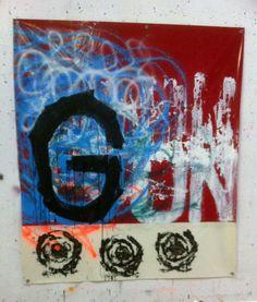 G UN, 150201, painting and spray paint on tarpaulin, 210 x 179 cm, 2015