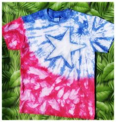 Check out this item in my Etsy shop https://www.etsy.com/listing/269888301/red-white-and-blue-large-star-in-tye-dye