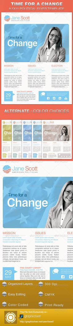 The Time for A Change Political Flyer Template is sold exclusively on graphicriver, it is great for any event, especially designed for political campaigns, conferences and voting events. All text and graphics in the files are editable, color coded and simple to edit. The files also contain five one-click color options, but endless colors are possible.
