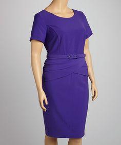 Look at this #zulilyfind! Purple Belted Cap-Sleeve Dress - Plus #zulilyfinds