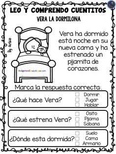 LEO Y COMPRENDO CUENTITOS – Imagenes Educativas Preschool Homework, Preschool Spanish, Preschool Writing, Preschool Education, Preschool Classroom, Speech Therapy Activities, Reading Activities, Reading Passages, Reading Comprehension