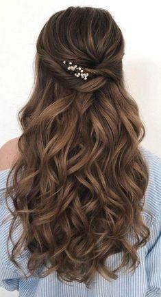 Wedding Hairstyles For Long Hair, Bride Hairstyles, Hairstyle Ideas, Gorgeous Hairstyles, Hair Ideas, Simple Elegant Hairstyles, Retro Hairstyles, Simple Hairstyle For Party, Hair Style For Party