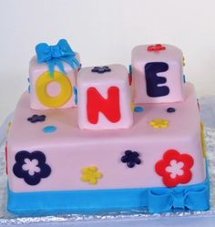Pastry Palace Las Vegas - Kid's Cake #1053 – One Big Birthday. Darling 1st birthday with blocks spelling out the news!