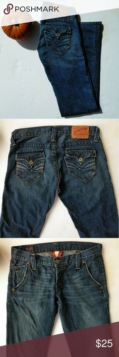 Lucky Brand Lil Maggie Jeans size 4 Quality made jeans from Lucky Brand, back pockets are embellished! The style is Lil Maggie and they are size 4 / 27. Waist laying flat measures 15''. Front rise is 7''. Inseam is 33''.  Good pre-owned condition with no rips, stains or holes.  Accepting reasonable offers.  Item # 217 (for my reference). Lucky Brand Jeans Boot Cut