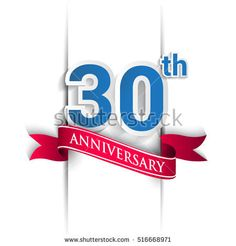 30 years anniversary logo, blue and red colored vector design on white background. template for Poster or brochure and invitation card.