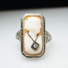 Vintage Antique Late Edwardian Diamond Shell by JamieKatesJewelry