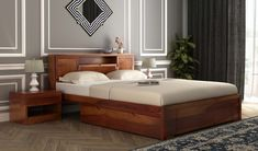 Buy Ferguson Bed Without Storage (Queen Size, Honey Finish) Online in India, Get Wooden Ferguson Bed Without Storage (Queen Size, Honey Finish) Wooden Street Home Furniture Online, Bed Furniture, Home Decor Furniture, Furniture Shopping, Furniture Design, Latest Wooden Bed Designs, Double Bed Designs, Wooden Bed With Storage, Bed Storage