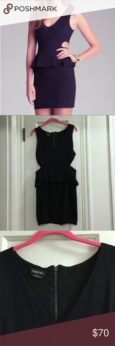 Bebe peplum cutout dress Excellent condition. Flattering design with flirty cutouts. Worn only once. bebe Dresses Mini