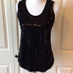 Black Tiny Sequined Tank NWT Super cute tank with tie at the back of the neck. Ya Los Angeles Tops Tank Tops
