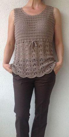 Beige Crochet Top/Women Croche