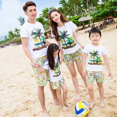 Summer Family clothing holiday mother girls father Boys t shirt pants Outfits coconut tree print Tops shorts sets