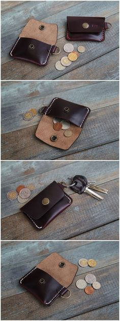 NEW HIGH QUALITY GENUINE BROWN LEATHER COIN TRAY PURSE WALLET WITH METAL RIM
