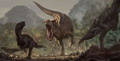 Chased by the devil dino *Carnotaurus. Artwork by Jurassic Park, Jurassic World Dinosaurs, Dinosaur Pictures, Extinct Animals, Dinosaur Art, Prehistoric Creatures, Hand Illustration, Art Portfolio, T Rex
