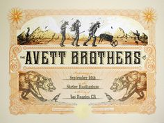 Other Art Bright The Avett Brothers 2014 Zeb Love Poster Print Shrine Auditorium Los Angeles