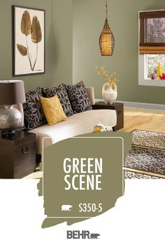 Bring the beauty of the outdoors in with BEHR® Paint in Green Scene. A fun wall color to add to your interior design scheme, this hue adds a natural style to every room in your home. Just check out this nature-inspired living room to see how. Click below for full color details to learn more.