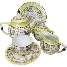 Rudolstadt Art Deco Lustre Ware Tea Dessert Set for Six