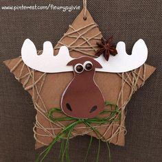 renne di Natale con una stella su cartoncino e la stringa. www.toutpetitrien.ch/bricos/ - fleurysylvie