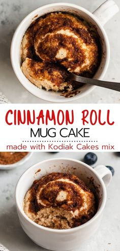 This healthy cinnamon roll microwave easy mug cake recipe is the perfect treat when you're craving a little something sweet. In just over a minute, you can be indulging in a scrumptious moist single-sized cinnamon roll flavored cake that Easy Mug Cake, Mug Cake Healthy, Cake Mug, Healthy Sweets, Eating Healthy, Healthy Snacks, 100 Calories, Healthy Cinnamon Rolls, Mug Cinnamon Roll