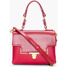 LANVIN Burgundy Soft Leather Shoulder Bag ($2,590) ❤ liked on Polyvore