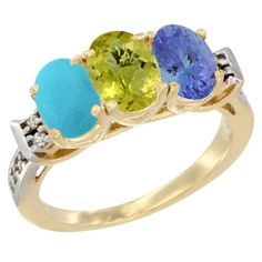 14K Yellow Gold Natural Turquoise, Lemon Quartz and Tanzanite Ring 3-Stone Oval 7x5 mm Diamond Accent, sizes 5 - 10 * See this great image  : Jewelry Ring Bands