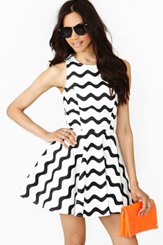 Graphic Wave Skater Dress + orange clutch