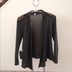 Olive green open front cardigan Spiked shoulders open front Olive green cardigan. Size S Tops