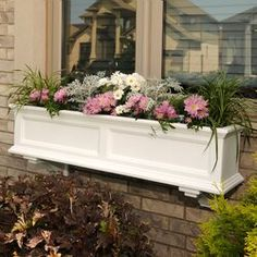 Mayne Inc. Fairfield Self Watering Plastic Window Box Planter Color: White, Size: H x 48 W x 11 D Mayne Inc. Fairfield Self Watering Plastic Window Box Planter Color: White, Size: H x 48 W x 11 D Metal Window Boxes, Window Box Flowers, Classic Window, Window Planter Boxes, Planter Ideas, Hanging Planters, Window Box Plants, Rustic Planters, Wall Planters