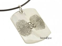 You & Me Sterling Silver Custom Dog Tag Pendant with Two Fingerprints  - by Brent & Jess Custom Handmade Fingerprint Wedding Rings and Jewelry