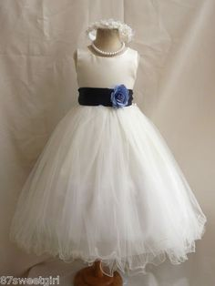 New Ivory Navy Blue Wedding Birthday Pageant Party Flower Girl Dress | eBay