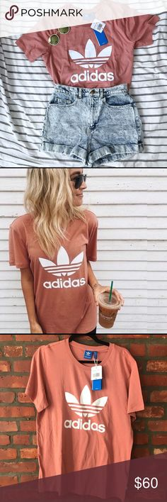 Last SMALL! adidas boyfriend trefoil tee raw pink Last Small left! Get it while you can (: there is a size sticker residue***  NWT RARE Adidas boyfriend trefoil Tee Raw Pink Small    Blogger favorite! Athleisure trend! Super cute relaxed fit tee with hard to find combo color. SOLD OUT EVERYWHERE !   60% cotton 40% modal **  CE8283   #adidas #rawpink #boyfriendtee #small #trefoil adidas Tops Tees - Short Sleeve