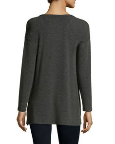 TBFL1 Neiman Marcus Active Long-Sleeve Asymmetric Ribbed Tee, Heather Charcoal Gray