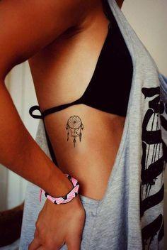 Small Boho Dreamcatcher Rib Tattoo Ideas for Women - pequeñas ideas de tatuajes para chicas - www.MyBodiArt.com