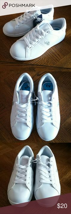 🌼U.S. Polo Assn. White Sneakers🌼 New with tags...from U.S. Polo Assn.  Size 2.  All white with gray logo on side and tongue.  Great shoes and very versatile, sharp with a cute dress too!!! 🌸🌸🌸 U.S. Polo Assn. Shoes Sneakers