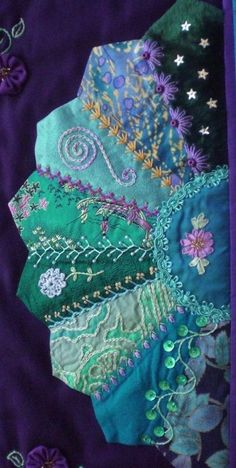 I �� crazy quilting & embroidery . . . beautiful, Fan 2 - Crazy patchwork wall quilt. 26 x 32 inches ~By marcie carr