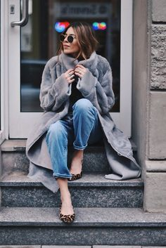 Faux Fur Long Coat + Jeans * Leopard Print Ballerinas