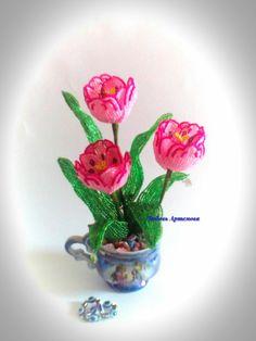 Букет тюльпанов в чашке Beaded Crafts, Paper, Flowers, Plants, Diy, Handmade, Leather, Hand Made, Bricolage