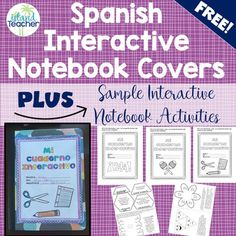 Spanish Interactive Notebook Covers and Sample Foldable Templates