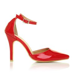 NEW YORK Red Patent Ankle Strap Pointed High Heel Court Shoes – ShuWish UK