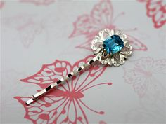 Something Blue Rectangle Hair clip One By by twinklejewellery, £6.00