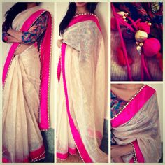 Beautiful Cream & Pink #Saree, w/ Floral Blouse @ayushkejriwal ~ https://www.facebook.com/Ayushkejriwalbyayush ~