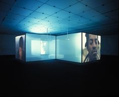 Doug Aitken Interiors 2002 Three-channel video (color, sound) and eleven screens Dimensions 3 projection screens and 8 translucent silkscreen dividers, each projection screen section 300 cm wide x 225 cm high, each scrim section 250 cm wide x 225 cm high = total cross formation approx. 7.9m l x 7.9m w x 2.4m h Credit Fractional and promised gift of the Julia Stoschek Foundation, Düsseldorf Copyright Produced in collaboration with The Fabric Workshop and Museum, Philadelphia © 2016