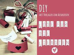 """Lose zum selber drucken mit Vorlage! DIY Nach einer kleinen Verschnaufpause zum Thema Valentinstag, habe ich heute ein letztes DIY für alle die, die noch ein Geschenk für die oder den Liebste/nsuchen. Aber auch wenn man keine """"bessere Hä..."""