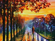 Huge Bedroom Wall Art - Evening Stroll — Palette Knife Yellow Skies Landscape Oil Painting On Canvas By Leonid Afremov.