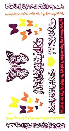 Wonbeauty Temporary jewelry tattoos Purple Fluorescent metallic fake tattoos colorful butterflies and ancient words. Safe and non-toxic design ideal for body art. Professional grade made to last 3 to 5 days and easily transferred by water. Perfect for vacations, girls night, pool parties, bachelorette parties, or any other event you want to look glamorous.