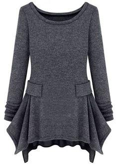 Langarm-Kleid mit Rüschen und Taschen, dunkelgrau 14.43