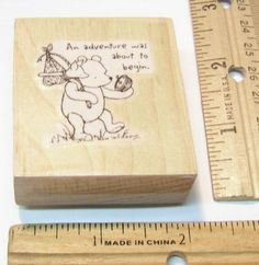 POOH & PIGLET AN ADENTURE WAS ABOUT TO BEGIN HAND MOUNTED Rubber Stamp   #NOBRAND #regular