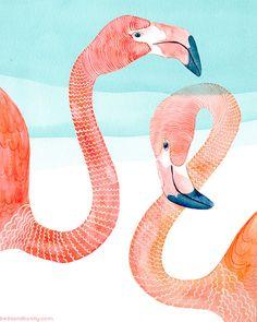 PRINT / Flamingo Pair by BellaAndBunny on Etsy